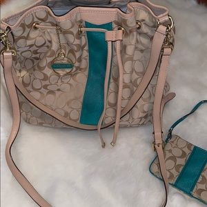 Coach Hobo 2 for 1 Bundle Tan and Teal Crossbody